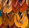 Leather made sandles background photograph beautiful female Stock Image