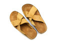 Leather mans slippers over white Royalty Free Stock Photography