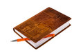 Leather notebook with ballpoint pen Royalty Free Stock Photo