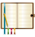 A leather notebook with gold pen and bookmark Stock Photography