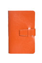 Leather orange notebook isolated on white background Stock Photo