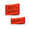 Leather product clothing labels Stock Photos