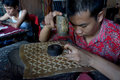Leather puppets craftsmen were made of in the city of solo central java indonesia Stock Photo