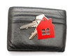 Leather purse with keys from the house Royalty Free Stock Photography