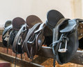 Leather saddles Royalty Free Stock Photo