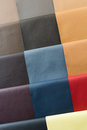 Leather samples of different colors at car dealership showroom Stock Photography