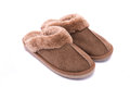 Leather slipper isolated Royalty Free Stock Photo