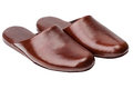 Leather slippers isolated on white Royalty Free Stock Photo