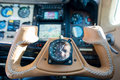 Leather steering throttle wheel aircraft of propeller aeroplane Royalty Free Stock Photo