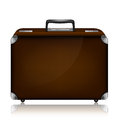 Leather suitcase with combination lock and metal c Royalty Free Stock Photo