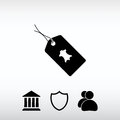 Leather tag icon, vector illustration. Flat design style