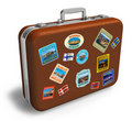 Leather travel suitcase with labels Stock Photography