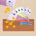 Leather wallet full of euro bank notes coins and credit cards. Flat design. Royalty Free Stock Photo