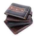 Leather wallets stack of isolated on white Royalty Free Stock Photo