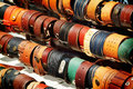 Leather wristbands a colorful selection of in a market stall Royalty Free Stock Photography
