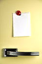 Leave a message on the fridge blank note fifties door copyspace for Royalty Free Stock Photos