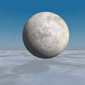 Leave it to discover mystery an ice horizon background with marble sphere texture floating Royalty Free Stock Photography