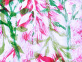 Leaves and abstract brushstrokes fuchsia and green Royalty Free Stock Photo
