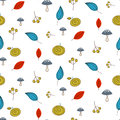 Leaves and berries fall seamless pattern. Royalty Free Stock Photo