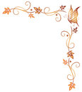 Leaves butterfly tendril orange with and autumn Royalty Free Stock Images