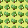 Leaves cartoon green trees seamless pattern vector summer leaf plant background