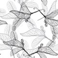 Leaves contours on a white background. floral seamless pattern,