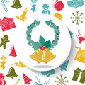 Leaves crown and bell of Merry Christmas design Royalty Free Stock Photo