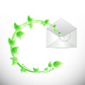 Leaves and envelope illustration design over a white background Stock Photography
