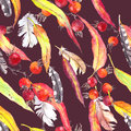 Leaves, feathers, berries. Seamless hippie pattern. Watercolor