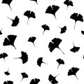 Leaves of ginkgo bilboa. Seamless illustration. Royalty Free Stock Photo