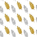 Leaves of golden and silver glitter on white background, seamless pattern Royalty Free Stock Photo