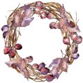 Leaves of hawthorn wreath in a watercolor style.