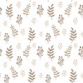 Leaves and herbs seamless vector pattern. Sweet botanic background in colors of beige and white