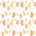Leaves and herbs seamless vector pattern. Sweet botanic background in colors of red and orange