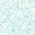 Leaves lineart seamless pattern background vector with hand drawn elements Royalty Free Stock Images