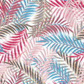 Leaves of palm tree. Seamless pattern. Palm leaf in violet on white background. Tropical trees leaves. Royalty Free Stock Photo