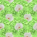 Leaves palm trees with orchid seamless pattern green