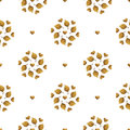 Leaves pattern. Gold hand painted seamless background. Abstract leaf golden illustration.