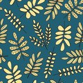 Beige branches on blue background. Seamless pattern