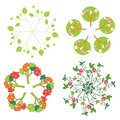 Leaves trees flowers symbols in circle set Royalty Free Stock Photo