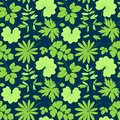 Leaves vector pattern green seamless on the blue summer background Stock Photography