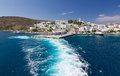 Leaving Adamantas port, Milos island, Greece Royalty Free Stock Photography