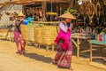 Leaving market at indein myanmar february two women traditional which is held every fifth day Stock Image