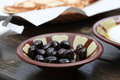 Lebanese breakfast black olives a dish as part of a traditional Royalty Free Stock Photo