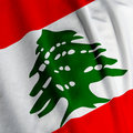 Lebanese Flag Closeup Royalty Free Stock Images