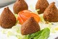 Lebanese food of fried kibe isolated on white background Stock Photo