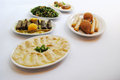 Lebanese food many plates of diferentes Stock Photos