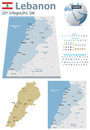 Lebanon maps with markers set of the political and symbols for infographic Stock Photo