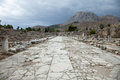 Lechaion road a marble street in corinth greece Stock Images