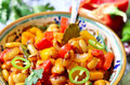 Lecho with bean traditional dish of hungarian cuisine Stock Photo